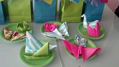 Origami napkin folding  instantly adds some fun to any party table, especially great for kid's birthday parties. I made these  for my daughter's  birthday party at her daycare.