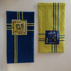 """""""Blue Totem"""" paired with """"Green Totem II"""" Cindy Grisdela. I just saw her and her great quilts in Baltimore at the ACC show!"""