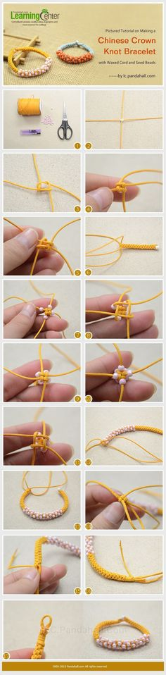 Pictured Tutorial on Making a Chinese Crown Knot Bracelet with Waxed Cord and Seed Beads. Oh and band geeks of the percussion nature, its just a bunch of cymbal knots! Bracelet Knots, Macrame Bracelets, Diy Bracelet, Paracord Bracelets, Bracelet Charms, Knotted Bracelet, Survival Bracelets, Bracelet Making, Beaded Jewelry