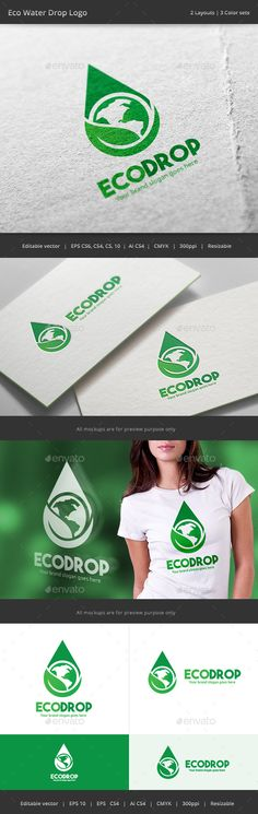 Eco Water Drop  - Logo Design Template Vector #logotype Download it here: http://graphicriver.net/item/eco-water-drop-logo/15715032?s_rank=26?ref=nexion