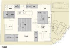 【間取り図】薪ストーブのある中庭住宅 : 【フラットハウス】おしゃれな平屋住宅参考画像 + 間取り図まとめ - NAVER まとめ