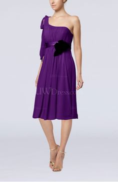 products wedding guest flowy chiffon plum dress shoulder flower empire
