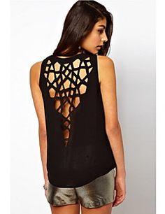 Clement naisten Euroopan seksikäs leikata pyöreä kaulus backless liivi t-paita