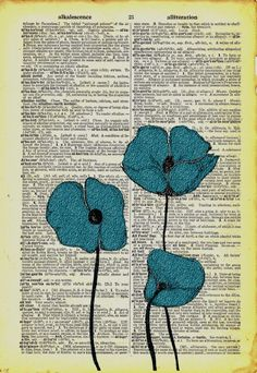 Vintage poppies on dictionary page. Wall art. Find an old dictionary and do nature art on the pages then frame. Great for a garden/school room