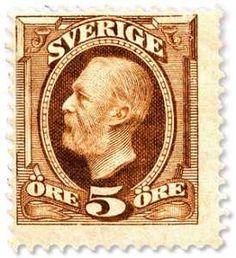 Sweden Stamp - King Oscar II 5ö, Max Mirowsky sc.