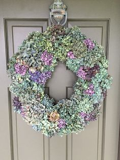 Dried Hydrange wreath christmas wreath by JuniperllYew on Etsy