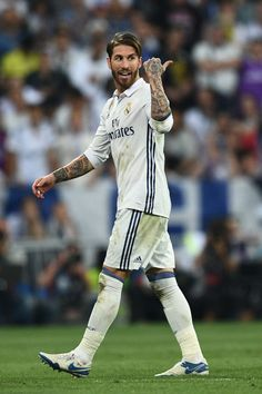 Sergio Ramos of Real Madrid as he is sent off during the La Liga match between Real Madrid CF and FC Barcelona at Estadio Bernabeu on April 23, 2017 in Madrid, Spain.