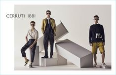 Models Kit Butler, Christopher Einla, and David Trulik appear in Cerruti 1881's spring-summer 2018 campaign.