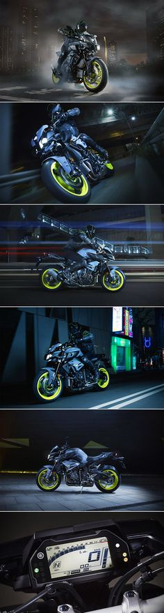 2016 Yamaha MT-10 - Powered by the same crossplane, 999cc inline-four engine as the race-ready YZF-R1, the Yamaha MT-10 Motorcycle merges track-worthy performance with street-friendly conveniences. Its traction control system, three riding modes, and slipper clutch also come from its high-performance cousin, while its short wheelbase, cruise control, and LCD multi function instrument panel make it a blast to ride at any speed...x