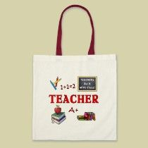 Teacher tote bags and gifts for teacher appreciation, end of school year gifts and graduation thank you
