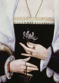detail from Portrait of a woman said to be Margaret Pole, Countess of Salisbury,16th century.