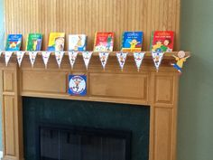 Decorations. We bought him Caillou books as one of his gifts. Used them to decorate the mantle.