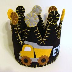 dump truck construction felt party crown