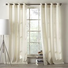 Linen Cotton Grommet Window Panel – White + Ivory #WestElm