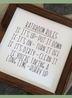 Funny Bathroom rules sign! Bathroom Wood Sign, Bathroom Home Decor, Fun Bathroom Sign, Bathroom decor, Home decor, Farmhouse sign, Farmhouse decor, Rustic sign, Rustic decor #ad