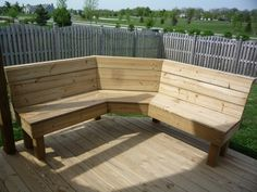 Corner Bench for the backyard next to the fire pit!                                                                                                                            More