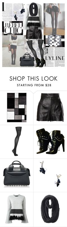 """""""Shorts and Boots Season"""" by lylinebrand ❤ liked on Polyvore featuring Radcliffe, Olsen, Alpine, Moschino, Wolford, Alexander Wang, Proenza Schouler, The North Face, monochrome and lylinebrand"""