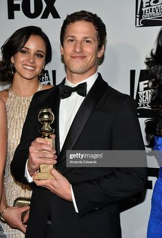 Actor Andy Samberg and actress Melissa Fumero arrive at the FOX/FX Golden Globe Party at the FOX Pavilion at the Golden Globes on January 2014 in Beverly Hills, California. Get premium, high resolution news photos at Getty Images Brooklyn 99 Actors, Brooklyn 9 9, Brooklyn Nine Nine, Celebrity Books, Jake And Amy, Jake Peralta, Andy Samberg, Series Movies, Celebs