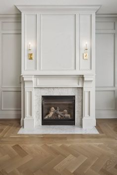Creamy White Fireplace with marble surround.