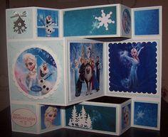 Bonjour à toutes Une amie m'a demandé de faire une carte d'anniversaire pour sa petite fille, qui adore La Reine des Neiges. J'ai eu envie de faire une carte pliée, pour y mettre plusieurs photos. J'espère que ça lui plaira ! J'adore ce système de cartes...