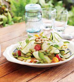 Zucchini Carpaccio with White Beans, Basil & Pine Nuts