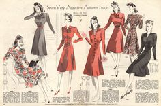 Autumn Frocks 1941 UK From Weldon's 'Good Taste' Magazine, easy on your coupons! wartime fashion, 1940s fashion