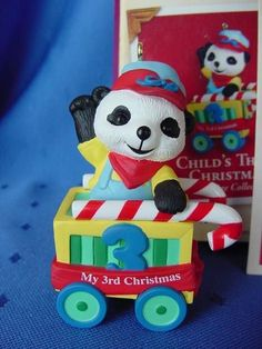 2000 Hallmark CHILD'S 3rd THIRD CHRISTMAS Ornament Panda  BABY'S FIRST 2000 ? w
