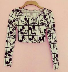 Manic Mickey Crop Top in Black and White
