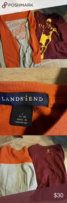 Lands End long sleeve tee shirts boys large Lands End long sleeve tee shirts boys large 2 of them in bundle one grey/orange eagle/soccer and maroon with gold soccer player never worn new condition Lands' End Shirts & Tops Tees - Long Sleeve