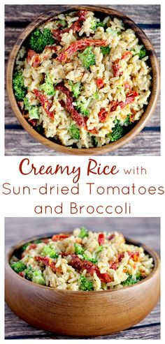 I made this Creamy Rice with Sun-dried Tomatoes and Broccoli recipe in less than 10 minutes! It's such an easy recipe and so delicious! It's vegetarian as written but you can add chicken too! It's also naturally gluten free!