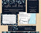 Sparkly Stars Wedding Invitation, RSVP, Inserts, Belly Band and Address Label