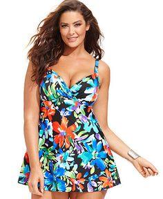 b3f4bc9749 Plus Size Floral-Print One-Piece Swimsuit Androgynous Fashion, Tomboy  Fashion, Curvy