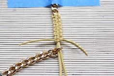 I Spy DIY Shows Us How To Make The Coolest Chain Bracelet, Ever #refinery29  http://www.refinery29.com/diy-chain-bracelet#slide-15  Step 14: Thread the two middle pieces through your second piece of chain.Photo: Courtesy of Jenni Radosevich...