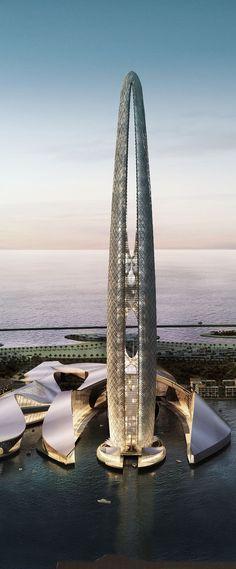 Lulu Island Tower, Abu Dhabi, UAE designed by Skidmore, Owings & Merrill (SOM) Architects :: 75 floors, height :: vision [Futuristic Architecture] Architecture Antique, Modern Architecture Design, Futuristic Architecture, Beautiful Architecture, Architecture Office, Architecture Facts, Pavilion Architecture, Abu Dhabi, Unusual Buildings