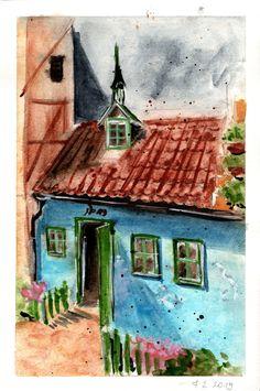 The smallest house in Golden Lane (Zlatá ulička), Prague. Aquarelle. Прага, Painting, Искусство