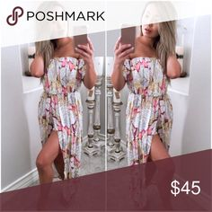 Only a few left-Pink Lemonade Maxi Romper This summers must have item! Gorgeous playsuit with a maxi skirt overlay. Off shoulder design and elastic at mid section. Australian sizing. Please message with questions. Hapa Clothing  Pants Jumpsuits & Rompers
