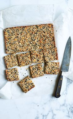 Practice it with us: Make a batch of these seed-and-nut-packed energy bars. Reach for one any time snack cravings strike. Low Carb Protein Bars, Healthy Bars, High Protein, Easy Snacks, Healthy Snacks, Protein Snacks, Eating Healthy, Sweet Recipes, Snack Recipes