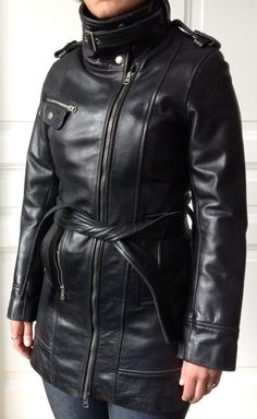Leder Fashion Leather Trench Coat, Leather Jacket, Mantel, Attitude, Women's Fashion, Jackets, Shoes, Artificial Leather, Studded Leather Jacket
