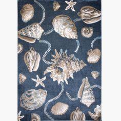 Bazaar Sea Shells Blue/Cream (Blue/Ivory) 3 ft. 3 in. x 4 ft. 3 in. Indoor Area Rug