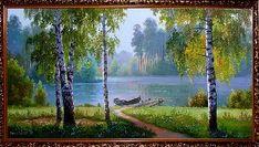 Лодка у реки - Летний пейзаж <- Картины маслом <- Картины - Каталог | Универсальный интернет-магазин подарков и сувениров