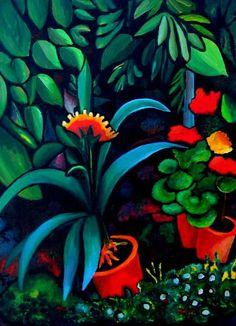 August Macke - Blumen Reproduction 61cm x 50.8cm - Garden Scene, Expressionism