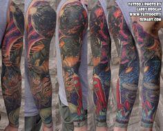 Outer, space, UFO, Astronaut, rocket, stars, galaxies, tattoo sleeve by Larry Brogan. Tattoo City, Lockport, IL. www.tattoocityskinart.com