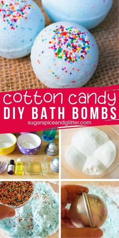 Cotton Candy Bath Bombs ⋆ Sugar, Spice and Glitter How cute are these Sprinkle Bath Bombs? They smell just like cotton candy and can be made two different ways, both resulting in a delicious candy-scented bath bomb! Bath Bombs Scents, Lush Bath Bombs, Bath Bombs Kids, Bath Salts, Bath Fizzies, Diy Bath Bombs, Creme Anti Age, Bombe Recipe, Homemade Bath Bombs