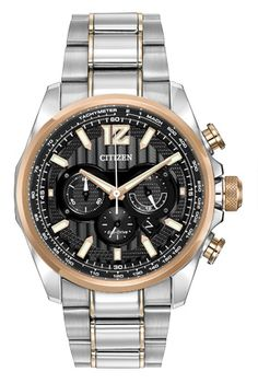 Dignified and polished, the CITIZEN® Eco-Drive Shadowhawk features 1/5 second chronograph measuring up to 60 minutes and 12/24-hour time. The two-tone rose gold-tone stainless steel case and bracelet features a black dial with rose accents, reverse date window and water resistance up to 200 meters.