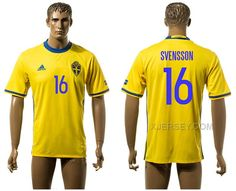 http://www.xjersey.com/sweden-16-svensson-home-euro-2016-thailand-jersey.html SWEDEN 16 SVENSSON HOME EURO 2016 THAILAND JERSEY Only 33.11€ , Free Shipping!