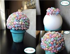 Easy and fun DIY to use with kids. Use candy pops or fruit arrangements with a styrofoam sphere. Lollipop Centerpiece, Lollipop Tree, Candy Centerpieces, Wedding Centerpieces, Candy Crafts, Dyi Crafts, Crafts For Kids, Bar A Bonbon, Pig Party