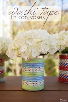 Washi Tape Tin Can Vase