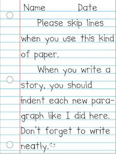 Model of how to use notebook paper properly. perfect for teaching young children how to write on this paper
