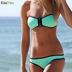 atractivo empuje hacia arriba bikini triángulo cremallera del traje de baño de kissties®women - USD $ 31.98