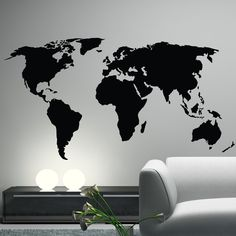 World map outlines wall decal continents by homeartstickers stuff world map wall sticker gumiabroncs Image collections
